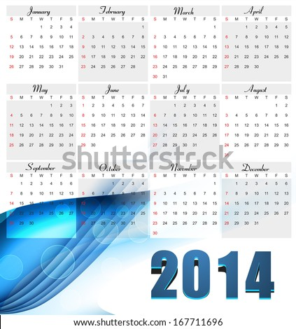 Beautiful New year for 2014 calendar colorful wave design vector