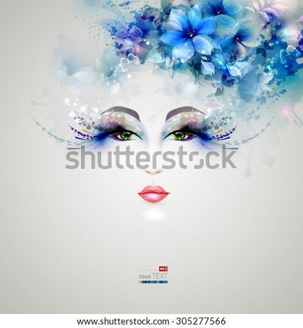 Beautiful nice women with abstract design floral elements - stock vector
