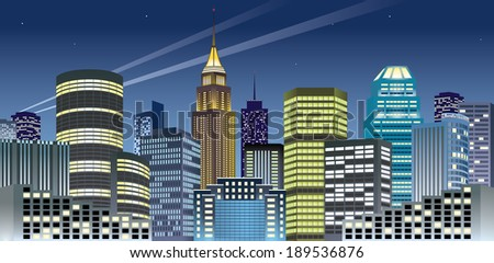 Beautiful night cityscape of downtown. CMYK colors. - stock vector