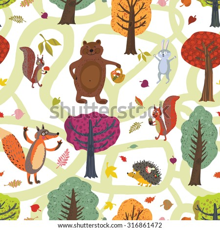 Beautiful night pattern with cartoon forest animals, squirrels, hedgehogs, bears, fox, hare autumn leaves and mushrooms