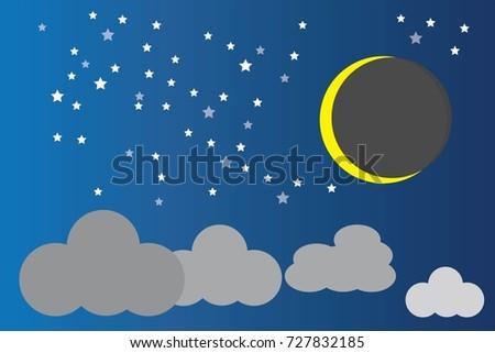 Beautiful Night Sky With Stars And Moon