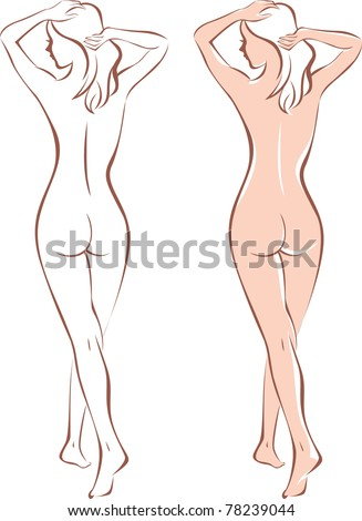 beautiful nude woman silhouette - stock vector