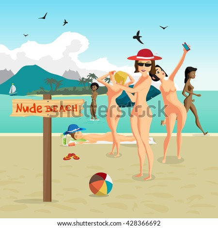 Beautiful nude women at the seaside. Group of women bathing and swimming on the nudist beach. Vector flat cartoon illustration people sunbathing on the private beach - stock vector