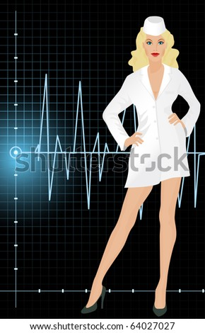 Beautiful nurse in uniform. - stock vector