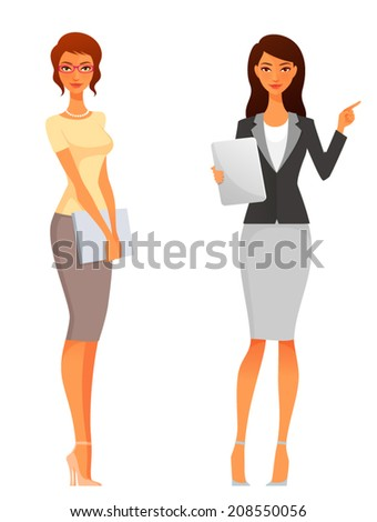 beautiful office or business women in smart casual clothes - stock vector