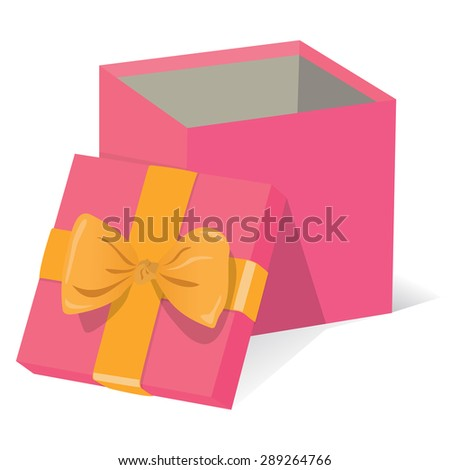 Beautiful open pink gift box with yellow decoration on a white background vector illustration - stock vector