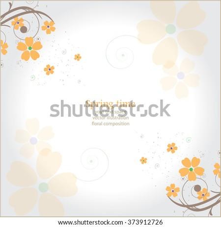 beautiful orange floral background - stock vector