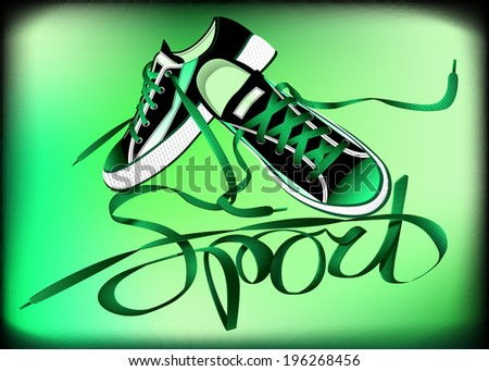 beautiful pair of green sneakers and laces forming the word sport on a colored background - stock vector