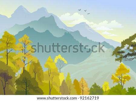 Beautiful Panorama Of Himalayan Hills - stock vector