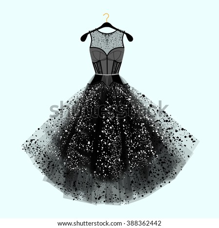 Beautiful party dress. Black dress with  rhinestones. Fashion illustration. Black dress for special event.
