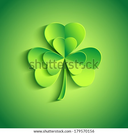 Beautiful Patricks day card green with stylized 3d leaf clover. Trendy Patricks day background with green leaf clover. Modern floral background. Vector illustration  - stock vector