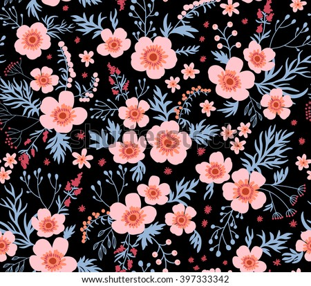 Beautiful pattern in small flower. Small pink flowers. Black background. Seamless floral pattern. - stock vector