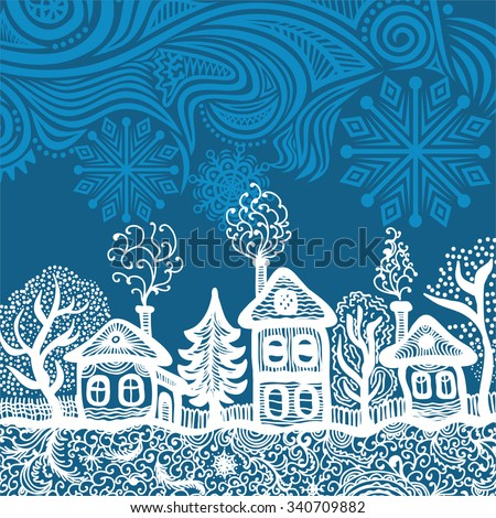 Beautiful pattern winter landscape happy new year merry christmas card vector illustration - stock vector