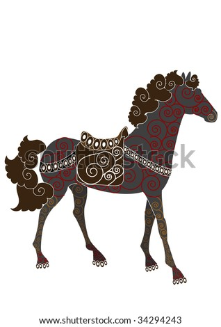 Beautiful patterned horse in ethnic style on a white background - stock vector