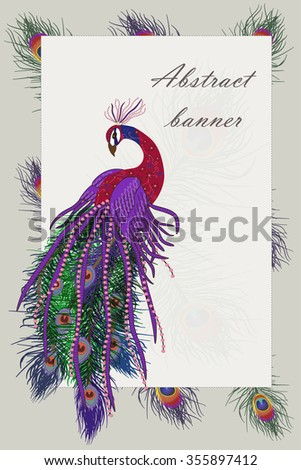 Beautiful peacock background. Peacock and feather. Vector illustration. EPS 10 - stock vector