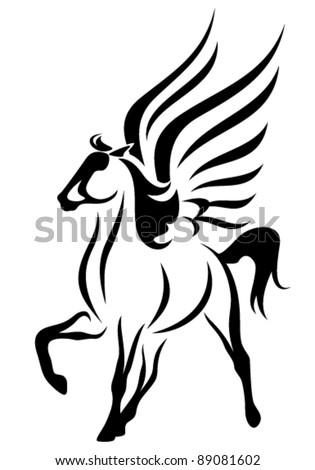 beautiful pegasus vector illustration - symbol of inspiration in Greek mythology - stock vector