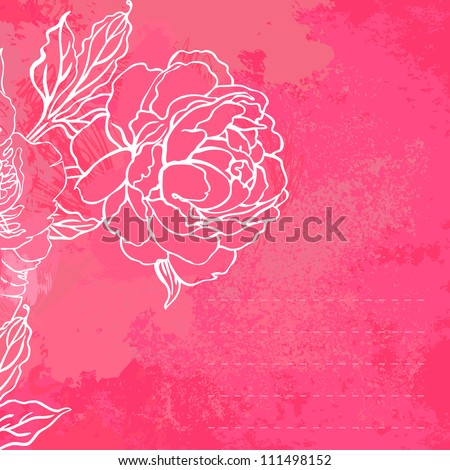 Beautiful peony bouquet design on a pink background. Hand drawn vector illustration - stock vector