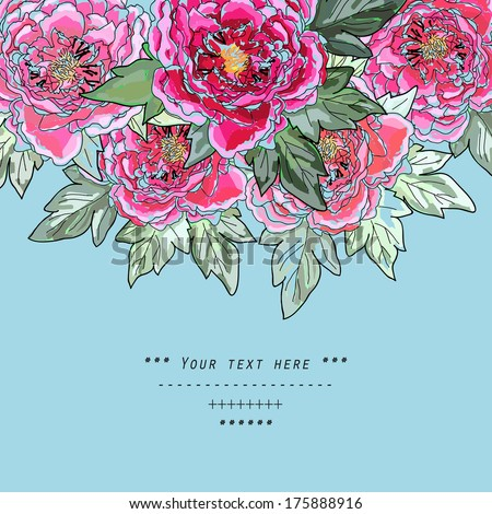 Beautiful peony bouquet design on blue  background. Hand drawn vector illustration. - stock vector