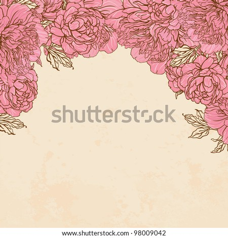 Beautiful peony bouquet frame design  on beige background. Hand drawn vector illustration. - stock vector