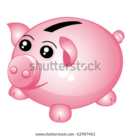 Beautiful piggy bank icon. Vector illustration. - stock vector