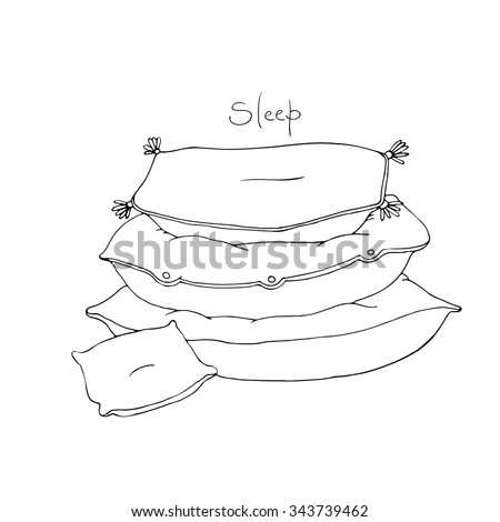 Beautiful pillows on a white background. Hand drawn vector. - stock vector