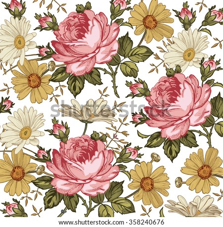 Beautiful pink and white baroque flowers. Vintage background with blooming realistic flowers.  Chamomile, Rose, wildflowers. Drawing, engraving textile. Freehand. Vector victorian style Illustration. - stock vector