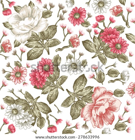 Beautiful pink and white flowers. Vintage Background with Blooming Flowers.  Peonies, chamomile, Wildflowers, Vector Illustration. - stock vector