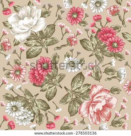 Beautiful pink and white flowers. Vintage Background with Blooming Flowers. Place for Your Text. Peonies, chamomile, Wildflowers, Vector Illustration. - stock vector
