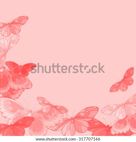 Beautiful pink background with butterflies - stock vector