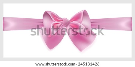 Beautiful pink bow with ribbon made of silk, located horizontally - stock vector