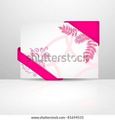 Beautiful pink greeting card - stock vector