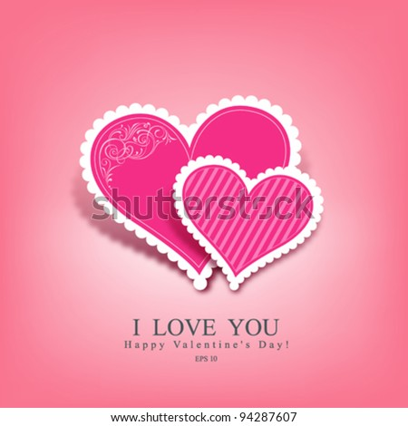 Beautiful pink heart paper classic valentine's day, vector illustration - stock vector