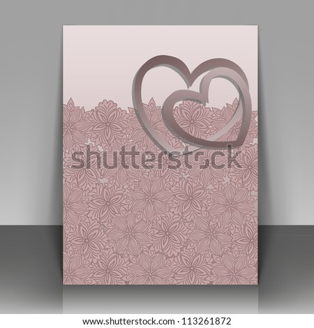 Beautiful pink postcard for Valentine's Day or wedding