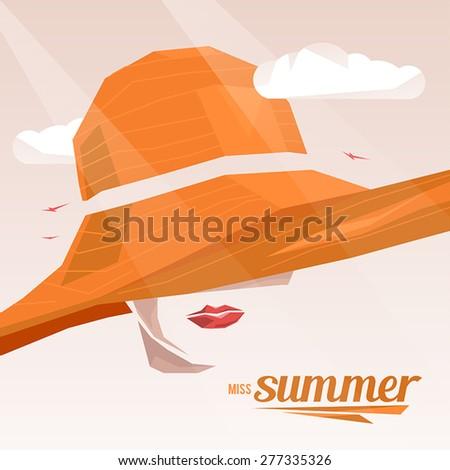 Beautiful portrait woman wearing elegant wide-brimmed hat. Vector vintage illustration. Miss Summer. - stock vector