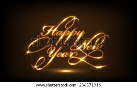 Beautiful poster or banner design with shiny golden text Happy New Year on brown background. - stock vector