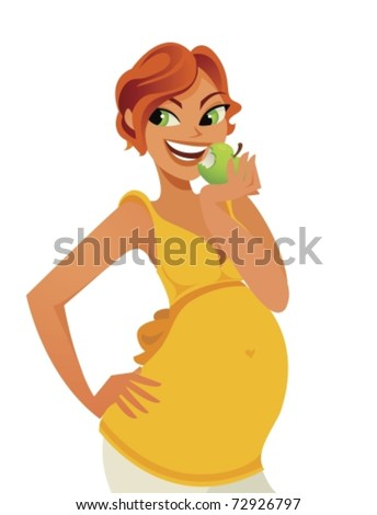 beautiful pregnant red head woman biting in an apple