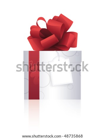 Beautiful present with red ribbon and label on a white background - stock vector