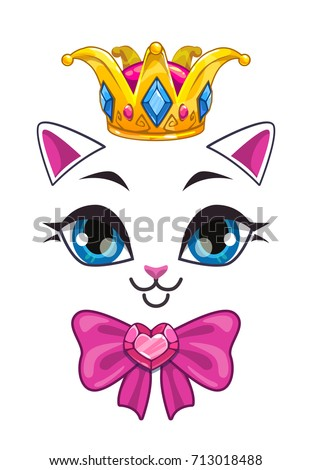 beautiful princess cat face on white background vector print template for girlish t shirt design