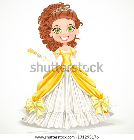 Beautiful princess in a yellow ball dress with a fan in his hand - stock vector
