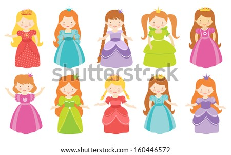 Beautiful princesses collection - stock vector