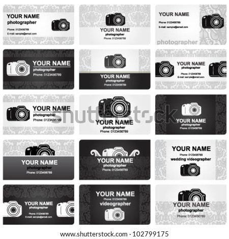 Beautiful professional vector business card set for wedding photographers