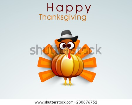 Beautiful pumpkin design in turkey bird shape with pilgrim hat on shiny blue background for Happy Thanksgiving Day celebrations.  - stock vector