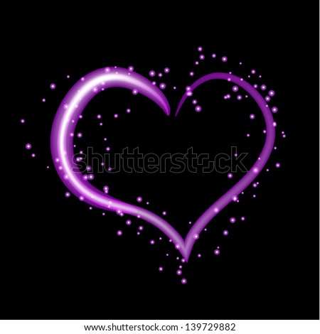 Purple heart Stock s & #1: stock vector beautiful purple neon heart intersecting with light effects perfect for valentine s day or other