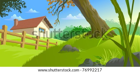 Beautiful Ranch  on Countryside - stock vector
