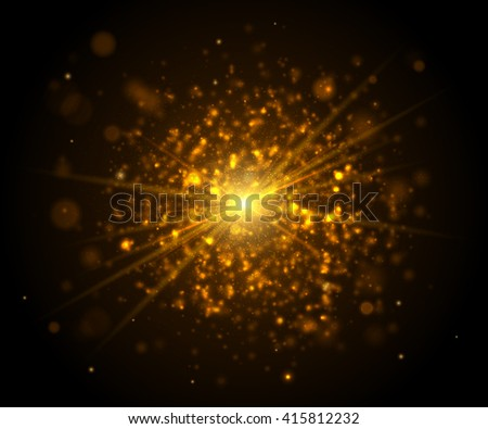 Beautiful realistic golden light glare. Cosmic glows and lighting effects with particles, rays, explosion, sparkles, flash and bokeh. Abstract vector illustration for your design