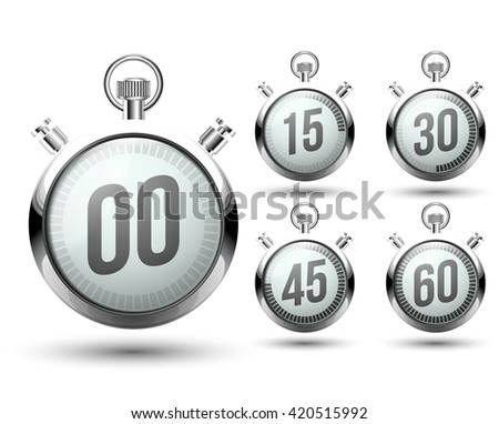 Beautiful realistic set of vector illustration of shiny chrome stopwatch isolated on white background. an electronic dial number 00, 15, 30, 45, 60. - stock vector
