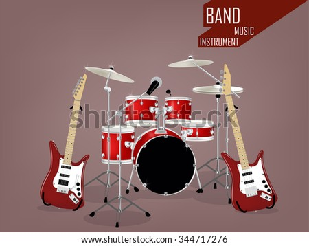 beautiful realistic vector of band music instrument - stock vector