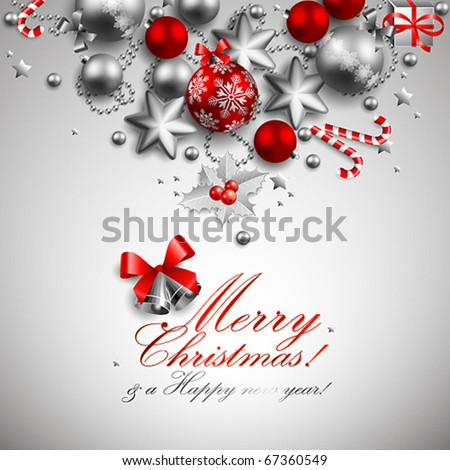 beautiful red and silver christmas background - stock vector