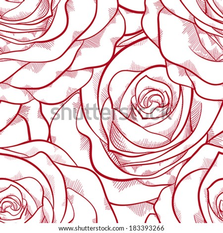 beautiful red and white seamless pattern in roses with contours. Hand-drawn contour lines and strokes. Perfect for background greeting cards and invitations of the wedding, birthday, Valentine's Day - stock vector