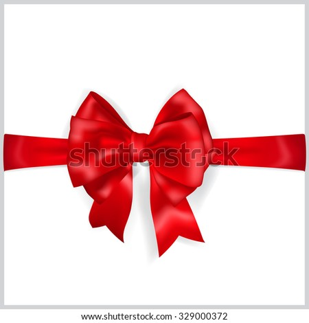 Beautiful red bow with horizontal ribbon and shadow